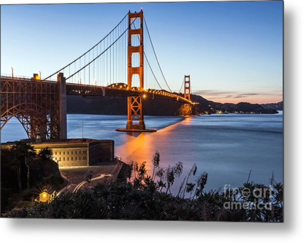 Metal Print featuring the photograph Golden Gate Night by Kate Brown
