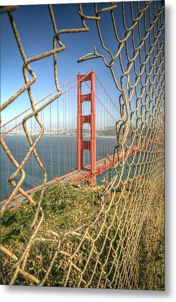 Golden Gate Through The Fence Metal Print