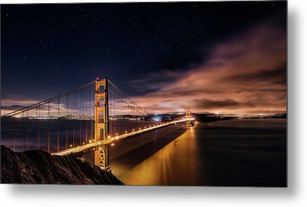 Golden Gate To Stars Metal Print by Javier De La