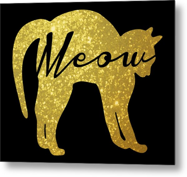 Golden Glitter Cat - Meow Metal Print