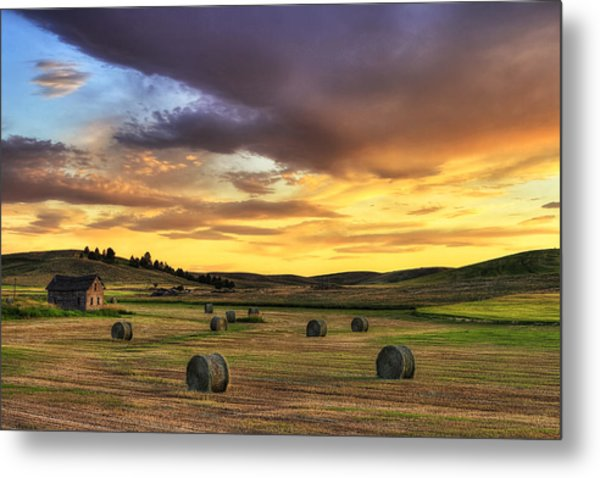 Golden Hour Farm Metal Print