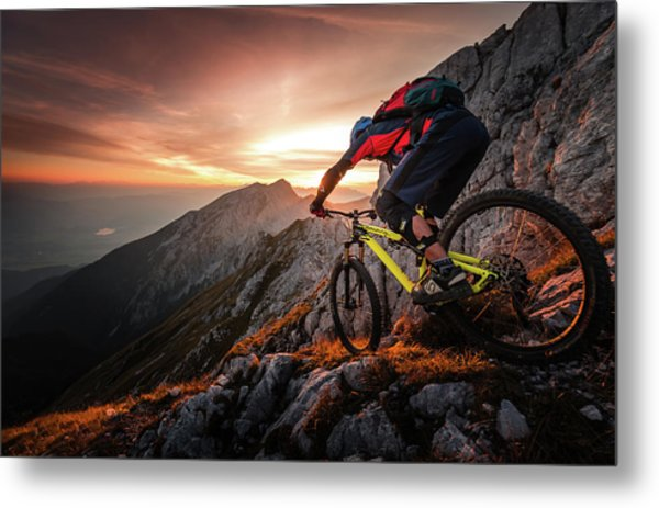 Golden Hour High Alpine Ride Metal Print
