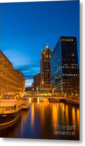 Golden Hour Milwaukee River Metal Print