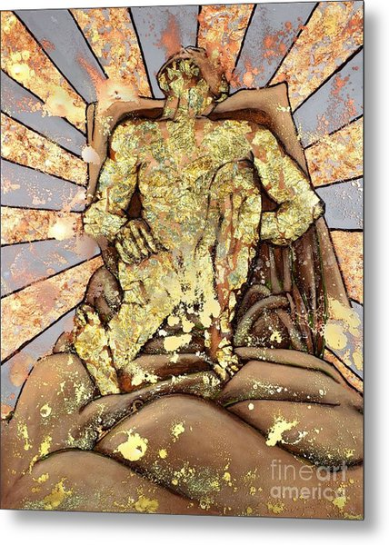 Golden Man On The Precipice Metal Print