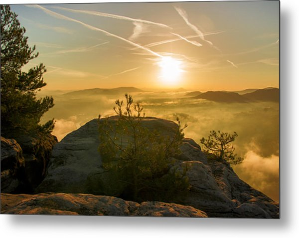 Golden Morning On The Lilienstein Metal Print