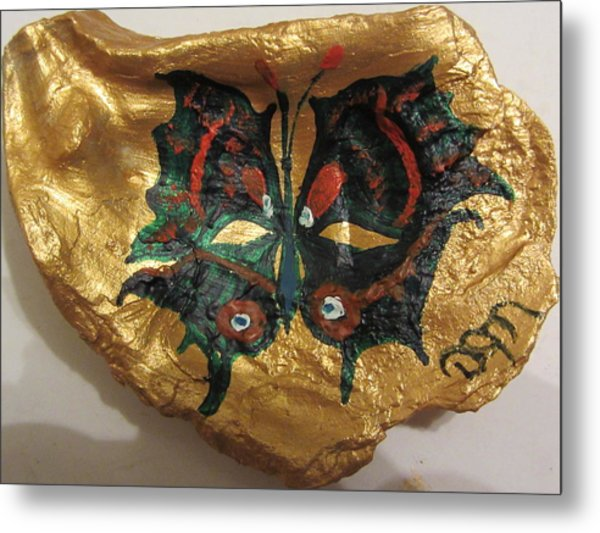 Golden Nugget Bird's Eye Butterfly On An Oyster Shell Metal Print by Debbie Nester