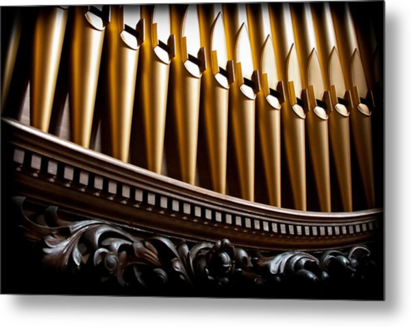 Golden Organ Pipes Metal Print