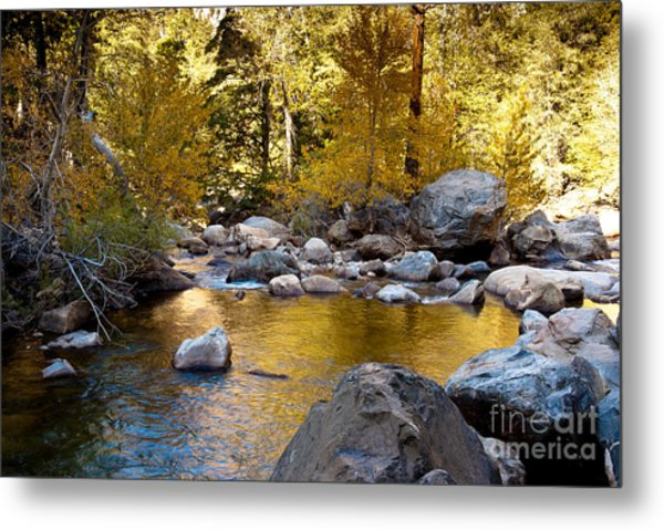 Golden Pool On Roaring River  1-7797 Metal Print by Stephen Parker