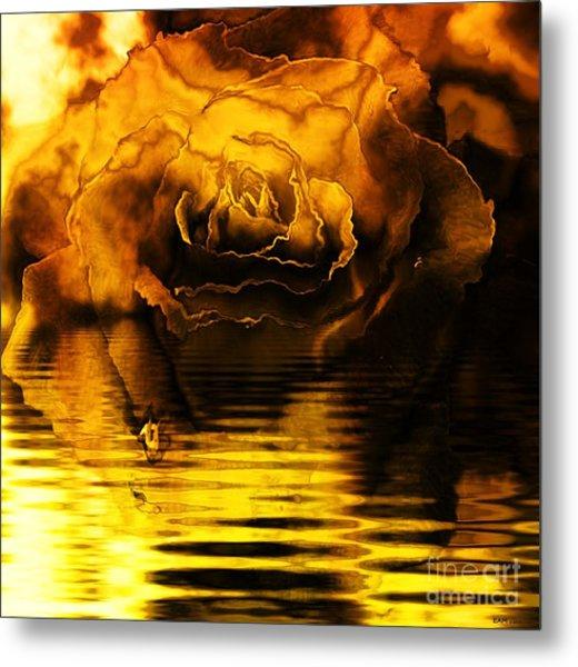 Golden Rose On The Lake Metal Print