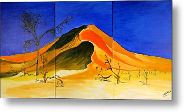 Golden Sand Dune_triptych Metal Print