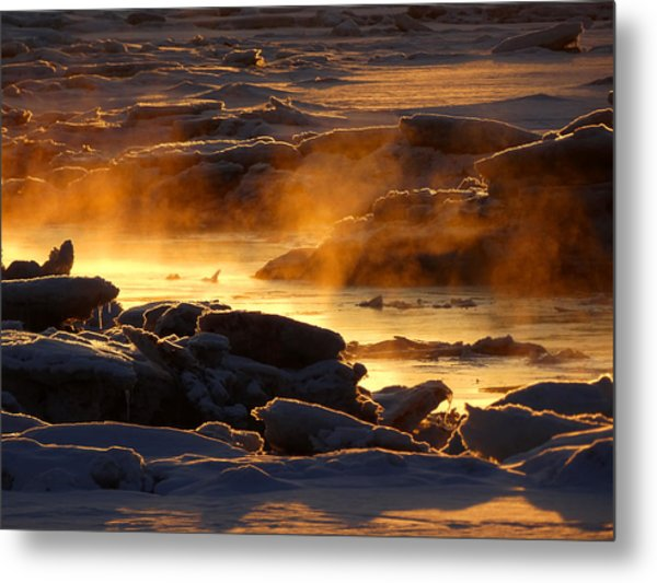 Golden Sea Smoke At Sunrise Metal Print
