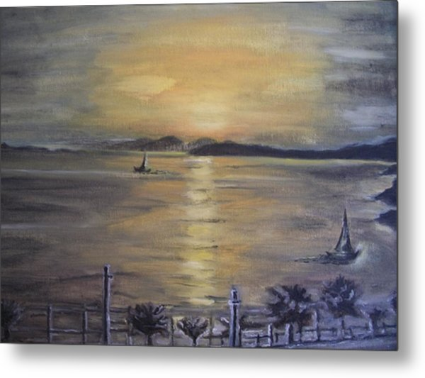 Golden Sea View Metal Print