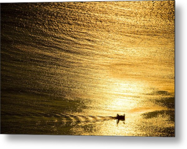 Golden Sea With Boat At Sunset Metal Print