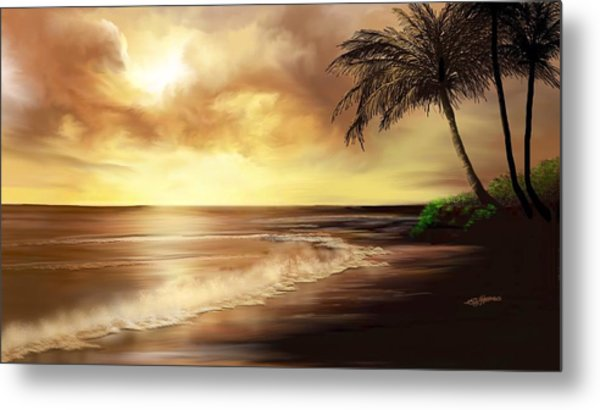 Golden Sky Over Tropical Beach Metal Print