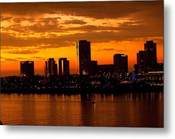Golden Skys Cloak The Long Beach Skyline Metal Print