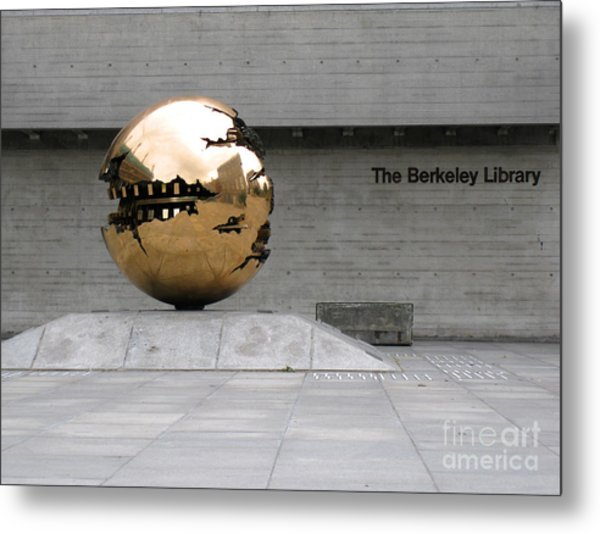 Metal Print featuring the photograph Golden Sphere By The Berkeley Library by Menega Sabidussi