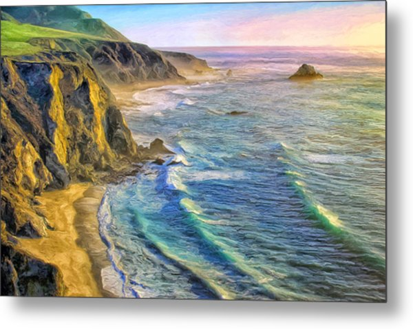 Golden Sunset At Big Sur Metal Print