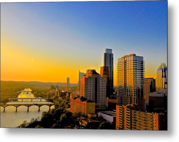Golden Sunset In Austin Texas Metal Print