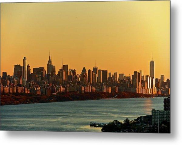 Golden Sunset On Nyc Skyline Metal Print by Robert D. Barnes