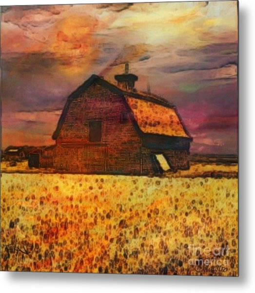 Golden Wheat Sunset Barn Metal Print