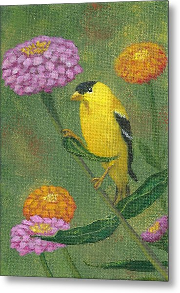 Goldfinch Garden Metal Print