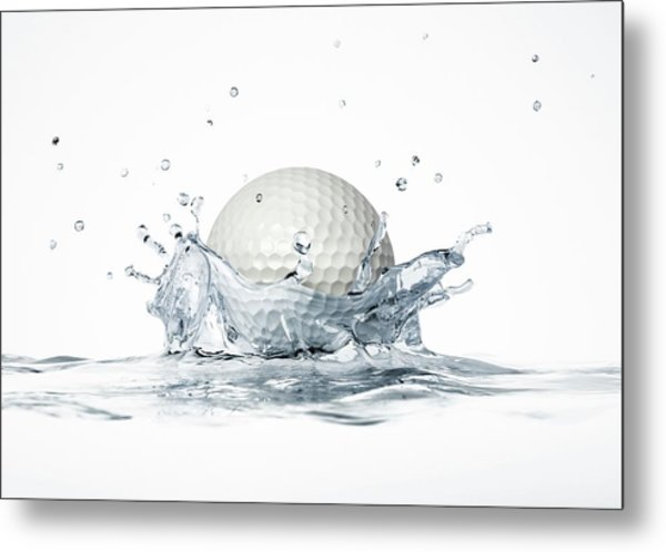 Golf Ball Splashing Into Water Metal Print by Leonello Calvetti