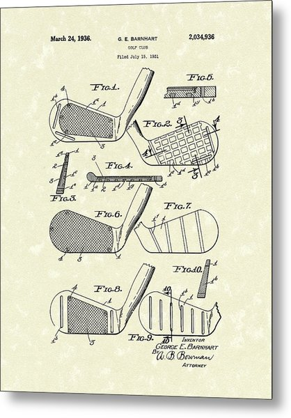 Golf Club 1936 Patent Art Metal Print