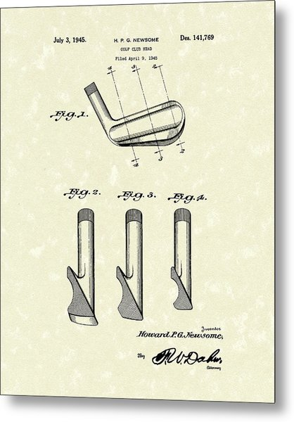 Metal Print featuring the drawing Golf Club 1945 Patent Art by Prior Art Design