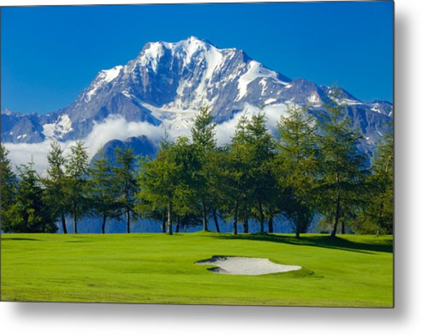 Golf Course In The Mountains - Riederalp Swiss Alps Switzerland Metal Print