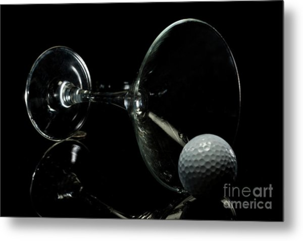 Golf Tini Golf Ball And Martini Glass Metal Print