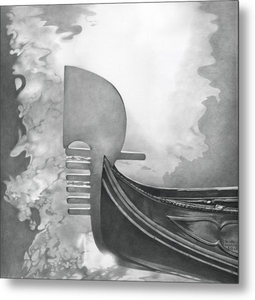 Metal Print featuring the drawing Gondola 2010 by Denis Chernov