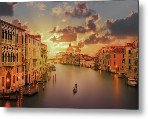 Gondola In The Grand Canal At Sunset Metal Print by Buena Vista Images