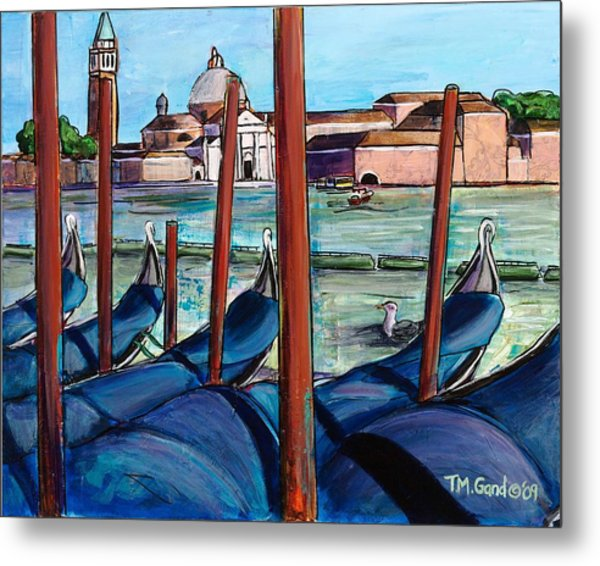 Metal Print featuring the painting Gondolas by TM Gand
