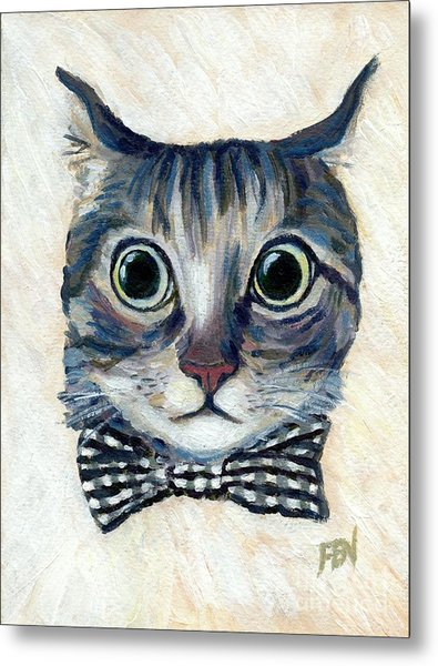 Good Boy Cat With A Checked Bowtie Metal Print
