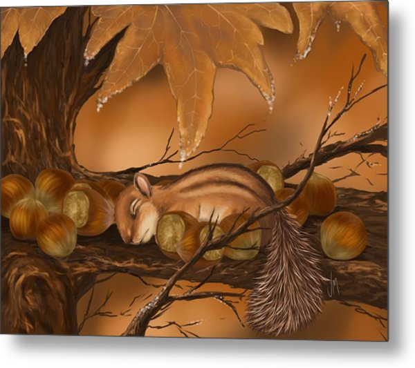 Goodnight Baby Squirrel Metal Print