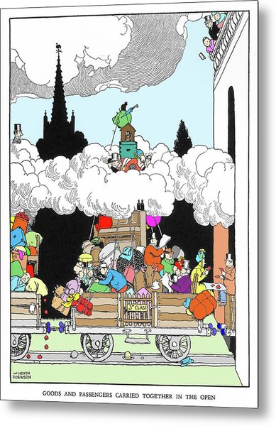 Goods And Passengers Carried Together By W. Heath Robinson Metal Print by Adam Hart-davis/science Photo Library