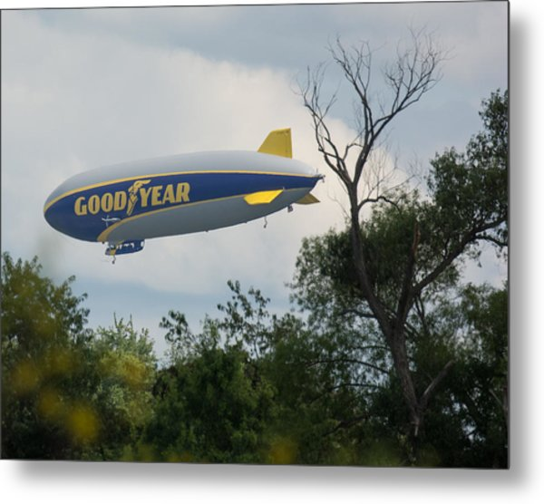 Goodyear Blimp Tree Top Flyer Metal Print
