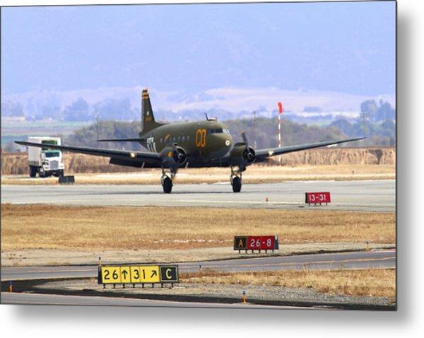 Gooney Bird C47 Landing At Salinas Air Show Metal Print