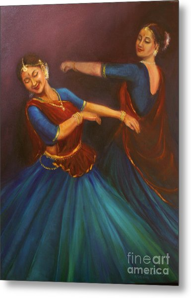 Gopis Dancing To The Flute Of Krishna Metal Print