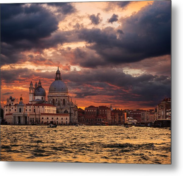 Gorgeous Sunset Over Grand Canal In Venice Metal Print