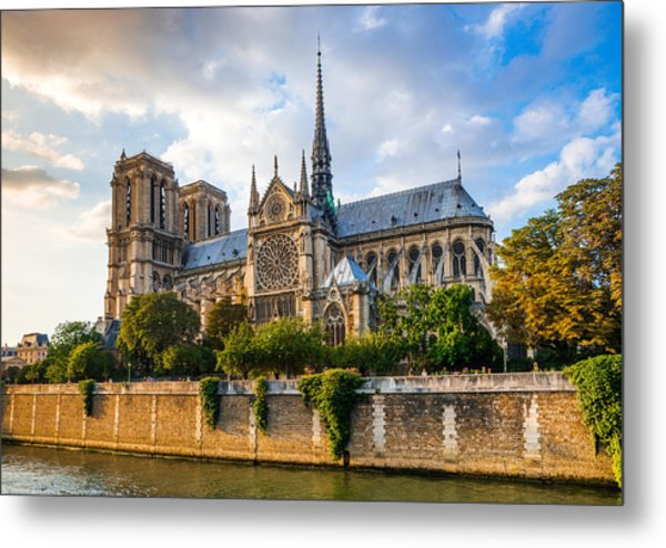 Gorgeous Sunset Over Notre Dame Cathedral Metal Print