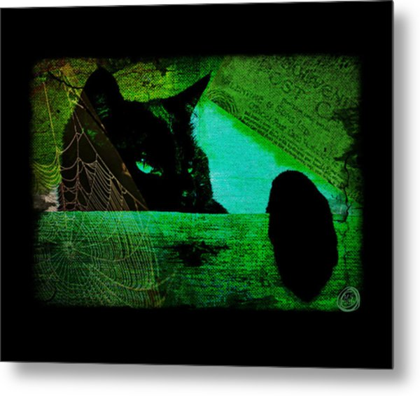 Gothic Black Cat Metal Print