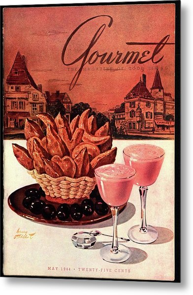 Gourmet Cover Featuring A Basket Of Potato Curls Metal Print