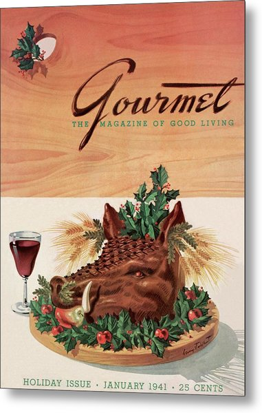 Gourmet Cover Featuring A Boar's Head Metal Print