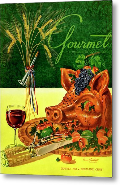Gourmet Cover Featuring A Pig's Head On A Platter Metal Print