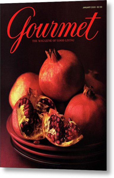 Gourmet Cover Featuring A Plate Of Pomegranates Metal Print