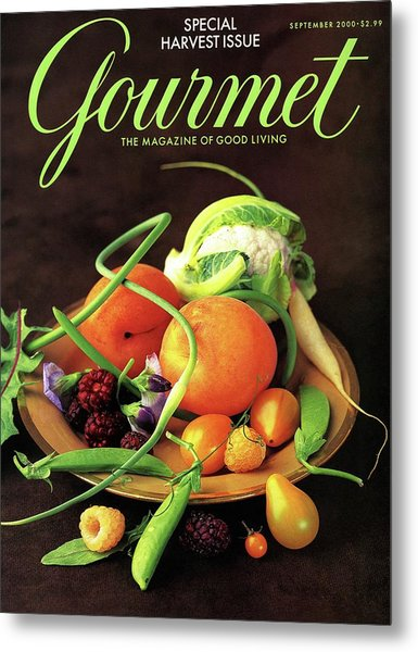 Gourmet Cover Featuring A Variety Of Fruit Metal Print