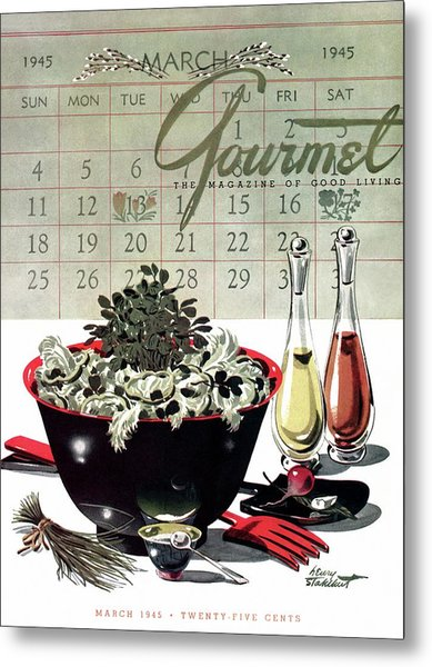 Gourmet Cover Illustration Of A Bowl Of Salad Metal Print