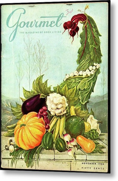 Gourmet Cover Illustration Of A Cornucopia Metal Print