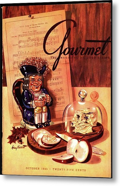 Gourmet Cover Illustration Of A Tray Of Cheese Metal Print